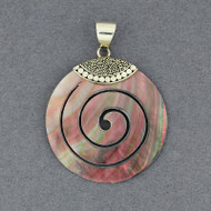 Black Mother of Pearl Spiral Pendant