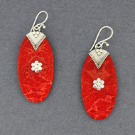 Coral Large Oval Earrings