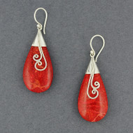 Coral Teardrop Spirals Earrings