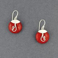 Coral Spiral Mini Circle Earrings