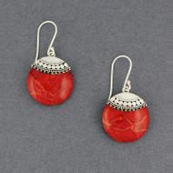 Coral Ornate Circle Earrings