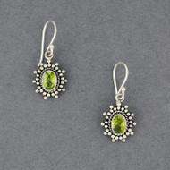 Peridot Dotted Oval Earrings