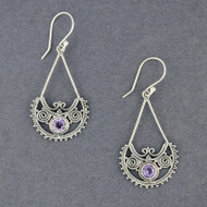 Amethyst Ornate Dangle Earrings