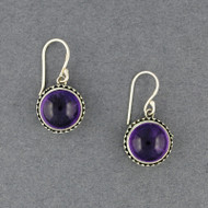 Amethyst in Dotted Bezel Earrings