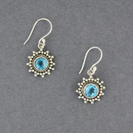 Blue Topaz Dotted Circle Earrings