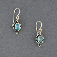 Blue Topaz Dotted Oval Earrings