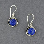 Lapis Dotted Circle Earrings
