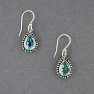 Blue Topaz Dotted Teardrop Earrings