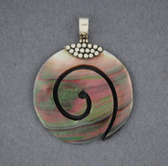 Black Mother of Pearl Thick Spiral Pendant