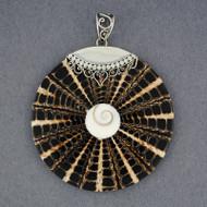 Shiva's Eye Jumbo Black & Tan Mosaic Pendant