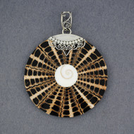 Shiva's Eye Orante Black & Tan Mosaic Pendant