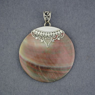 Black Mother of Pearl Ornate Circle Pendant