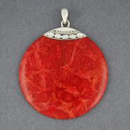 Coral Jumbo Circle Pendant