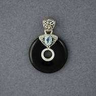 Onyx & Blue Topaz Circle Pendant