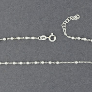Sterling Silver Bead on Chain Anklet