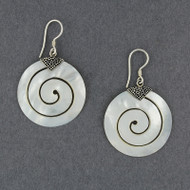 Mother of Pearl Large Spiral Earrings