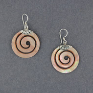 Pink Mother of Pearl Spiral Earrings