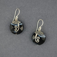 Banded Onyx Spiral Earrings