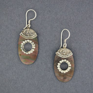 Black Mother of Pearl Ornate Oval Earrings