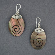 Black Mother of Pearl Oval Spiral Earrings