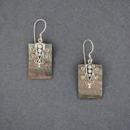 Black Mother of Pearl Ornate Rectangle Earrings