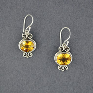 Citrine Oval and Swirls Earrings