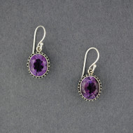 Amethyst Dotted Oval Earrings
