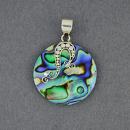 Abalone Dots and Curls Circle Pendant