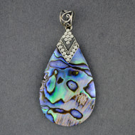 Abalone Large Dotted Teardrop Pendant
