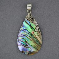 Abalone Large Ornate Teardrop Pendant