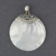 Mother of Pearl Large Ornate Circle Pendant