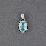 Blue Topaz Dotted Oval Pendant