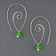 Swirl Hook Sea Glass Earrings