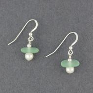 Pearl Drop Sea Glass Earrings