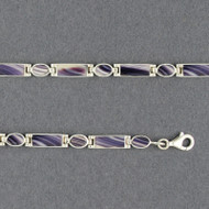 Wampum Rectangle and Oval Hinge Bracelet