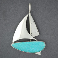 Large Sailboat Pendant with Turquoise
