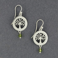 Circle Tree of Life with Stone Earrings