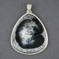 Sterling Silver Dendrite Agate Jumbo Triangle Pendant