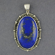Sterling Silver Lapis Oval Pendant