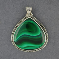 Sterling Silver Malachite Teardrop Pendant