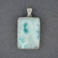 Sterling Silver Larimar Rectangle Pendant