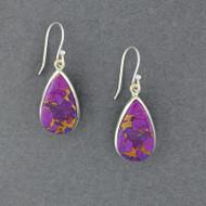 Sterling Silver Purple Copper Turquoise Earrings