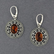 Amber Ornate Oval Earrings