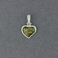 Green Amber Small Heart Pendant