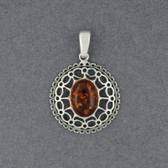 Amber Ornate Oval Pendant