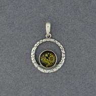 Green Amber in Detailed Circle Pendant