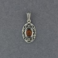 Amber Small Ornate Oval Pendant