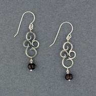 Faceted Garnet Swirl Earrings