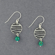 Turquoise Striped Circle Earrings
