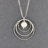 Pearl in Floating Circles Necklace